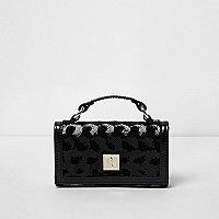 Girls black metallic sequin trifold purse