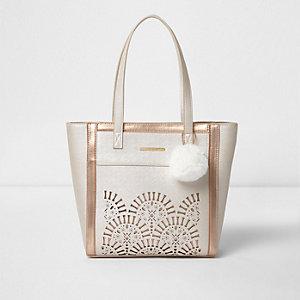 Pinke Shopper Tasche mit Laserschnittmuster