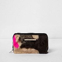 Girls black multi colour faux fur zip purse