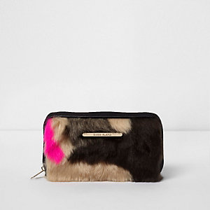 Girls black multi colour faux fur zip purse
