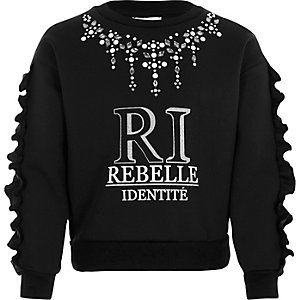 Girls black 'RI' embellished frill sweatshirt