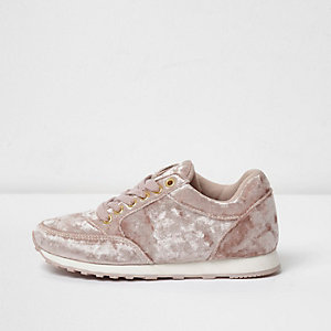 Girls pink velvet lace-up runner trainers