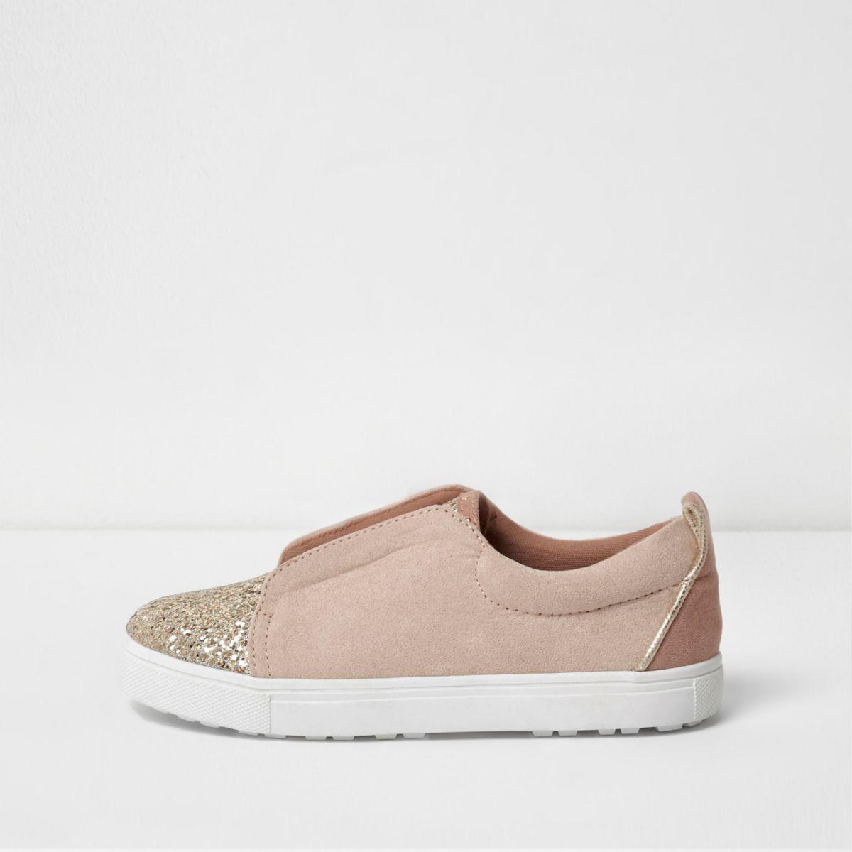 Girls pink glitter studded slip on plimsolls