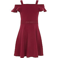 Girls dark red lace trim bardot dress