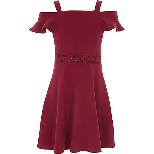 Girls dark red lace trim bardot dress