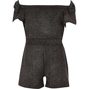 Girls black metallic bow bardot romper