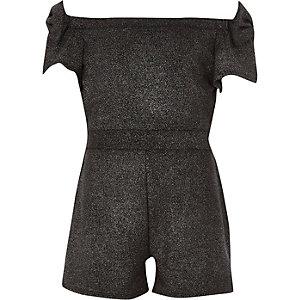 Combi-short Bardot noir métallisé avec nœuds pour fille