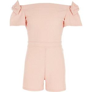 Girls light pink metallic bardot bow playsuit