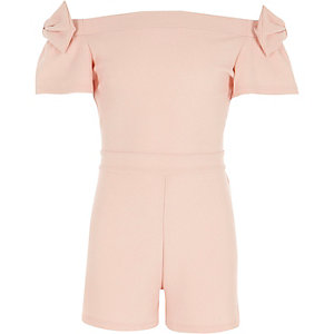 Girls light pink metallic bardot bow romper