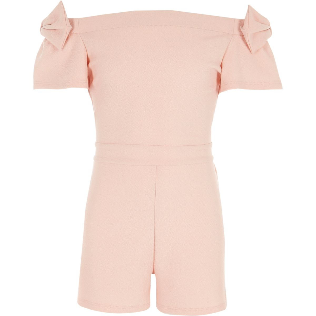Girls light pink metallic bardot bow playsuit