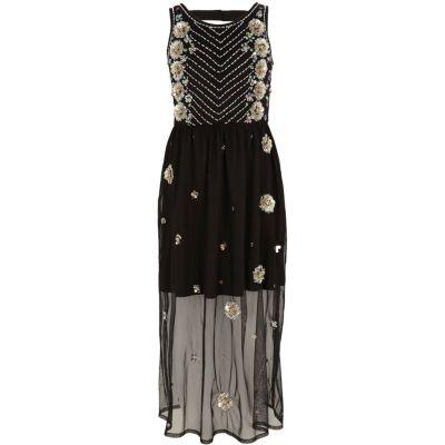 River Island Zwarte versierde mesh maxi-jurk voor meisjes