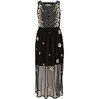 Girls black embellished mesh maxi dress