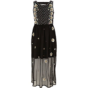 Girls black embellished mesh maxi dress
