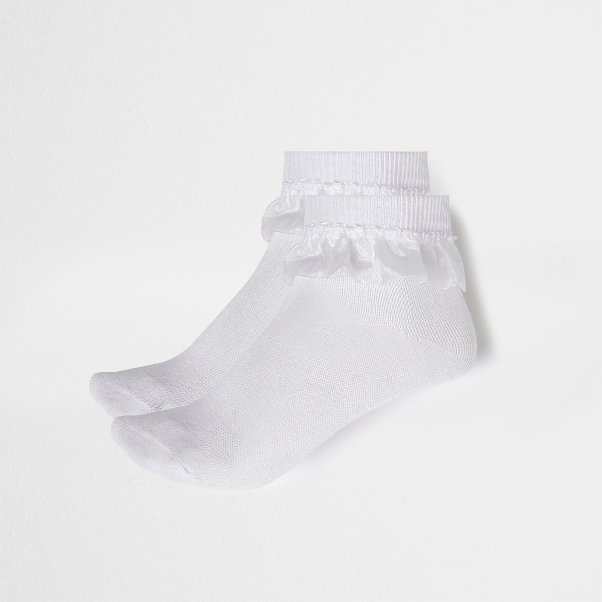 Girls white frill ankle socks multipack