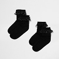 Mini girls black frill socks multipack