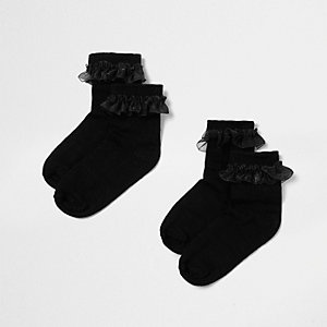 Mini girls black frill socks multipack