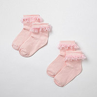 Mini girls pink frill socks multipack