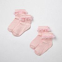 Mini girls pink frill socks multipack