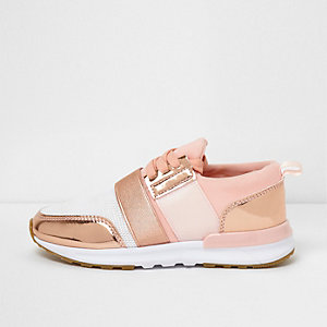 Girls rose gold scuba mesh runner sneakers