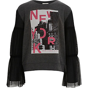 Girls grey 'New York' mesh sleeve sweatshirt