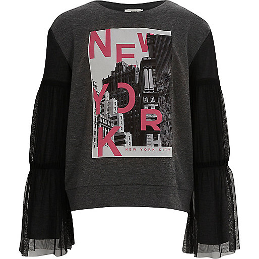 Girls grey 'New York' mesh sleeve sweatshirt