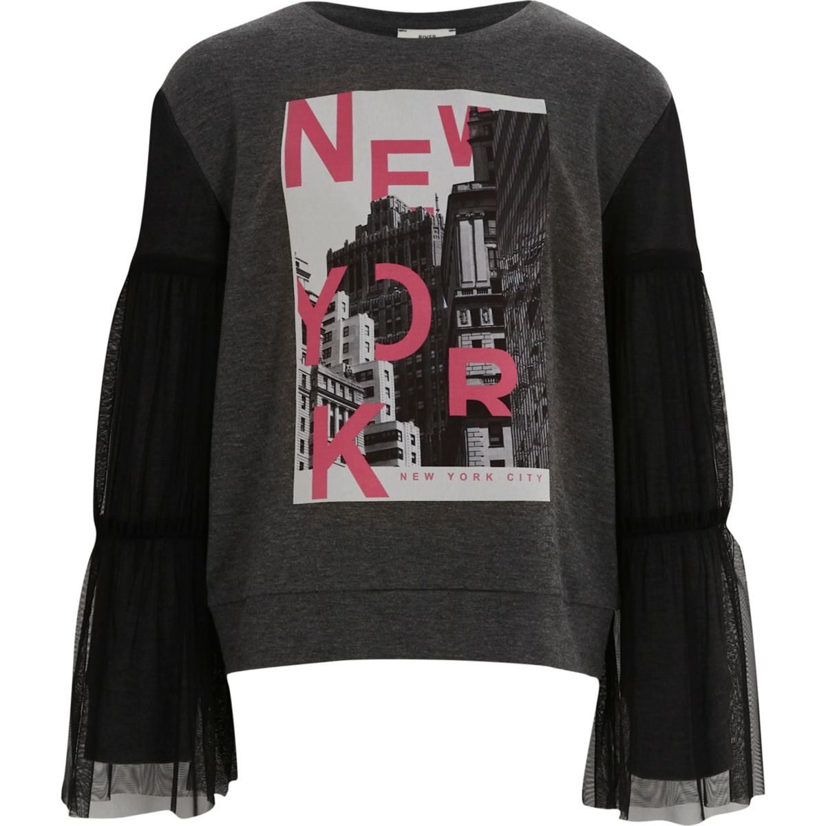 c2c84b50f6654 Sweat à imprimé « New York » gris et manches avec tulle pour fille ...