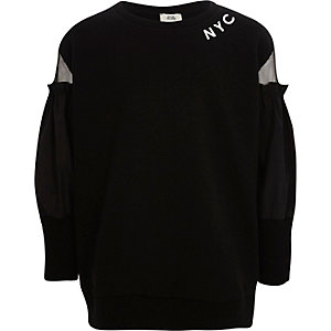 Girls black 'NYC' mesh sleeve sweatshirt