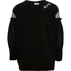 Zwart 'NYC' sweatshirt met mesh mouwen voor meisjes