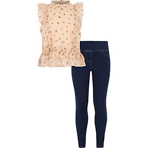 Girls cream frill top and jeggings outfit