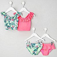 Mini girls green and pink tankini multipack