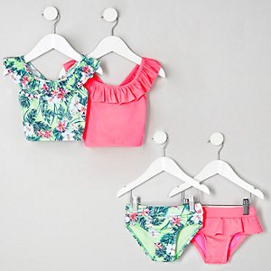 Mini girls green and pink tankini multipack