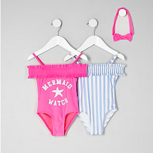 Mini girls pink and blue stripe swimsuit pack