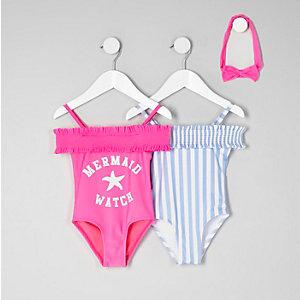 Lot de maillots une-pièce rose et bleu à rayures mini fille