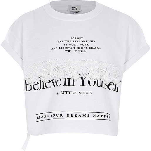 Girls white 'believe' cropped T-shirt