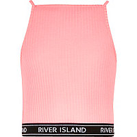 Girls pink ribbed 90s style crop top