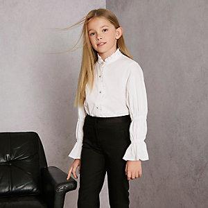 RI Studio - Wit overhemd met ruches voor meisjes