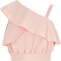 Girls pink one shoulder frill crop top