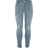 Girls blue Molly skinny asymmetric hem jeans