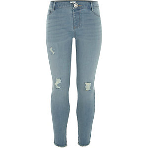 Girls blue Molly skinny asymmetric hem jeans