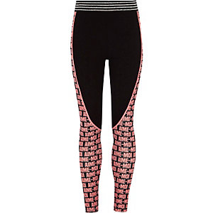 Girls black 'aime-moi' print panel leggings