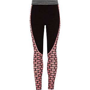 Zwarte legging met paneel met 'aime-moi'-print voor meisjes