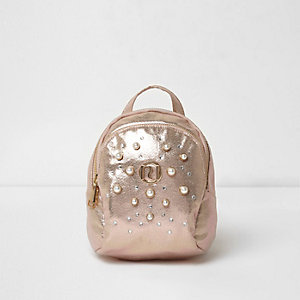Girls gold metallic embellished backpack