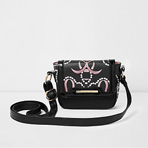 Girls black pearl print cross body bag
