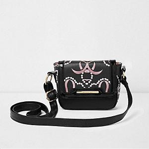 Zwarte crossbodytas met parelprint voor meisjes