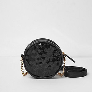 Girls black sequin circle cross body bag