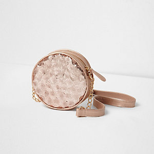 Girls rose gold sequin round cross body bag