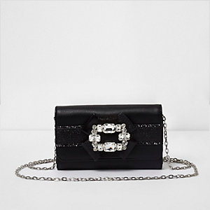 Girls black glitter brooch embellished purse