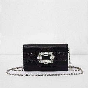 Zwarte portemonnee met glitters en broche voor meisjes
