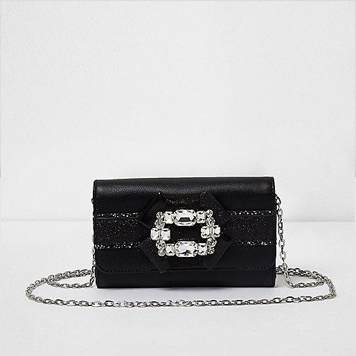 Girls black glitter brooch embellished purse