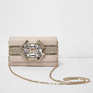 Girls cream glitter brooch embellished purse